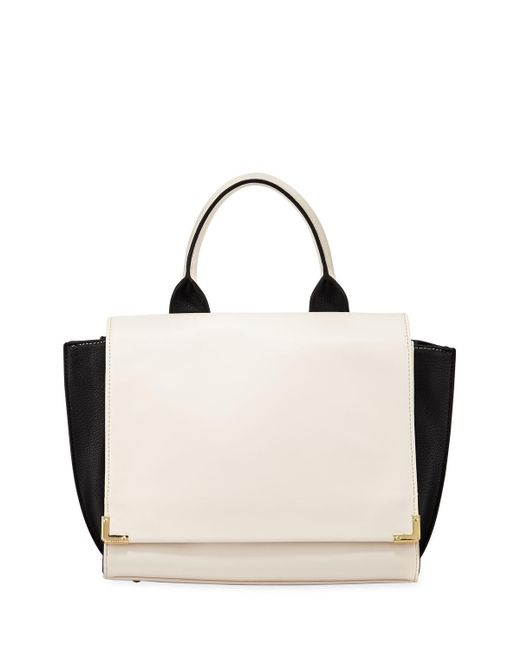 Neiman Marcus - Black Winged Colorblock Fold-over Satchel Bag - Lyst