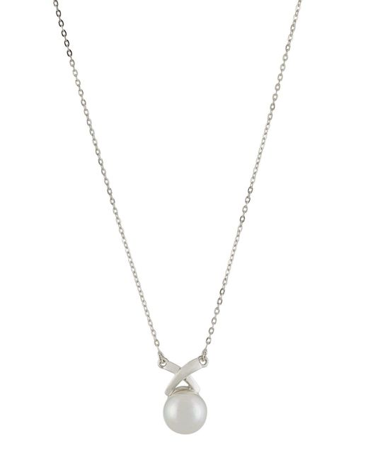 Majorica - White 10mm Round Pearly X Pendant Necklace - Lyst