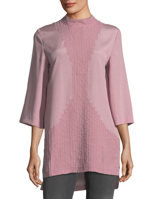 Quinn - Gray Mock-neck Embellished Blouse - Lyst