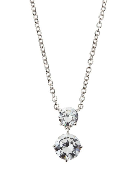 Fantasia by Deserio - Metallic Triple-stone Cz Pendant Necklace - Lyst