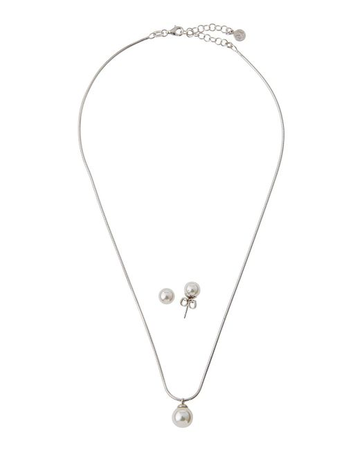 Majorica - White Pearl Pendant Necklace & Stud Earrings Set - Lyst