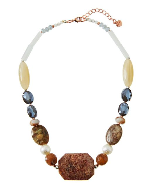 Nakamol | Natural Chunky Beaded Stone Necklace In Nude Mix | Lyst