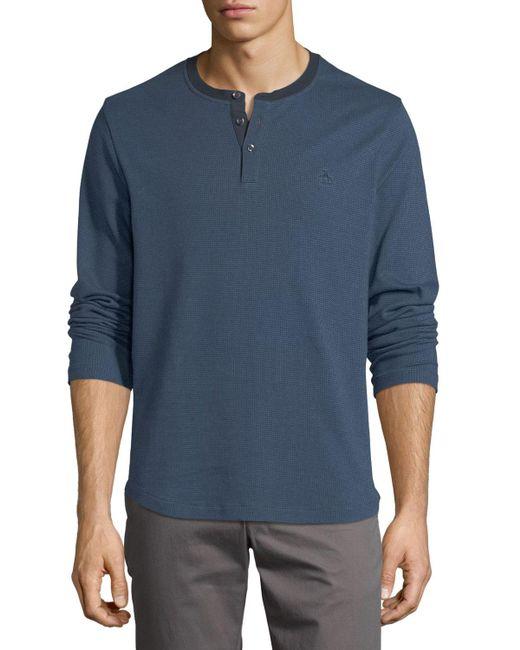 Original Penguin   Blue Herringbone Long-sleeve Shirt for Men   Lyst