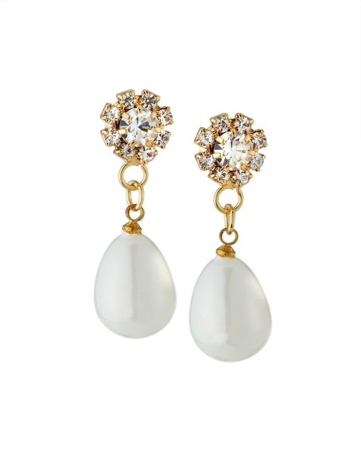 Fragments - White Crystal Pearly Drop Earrings - Lyst