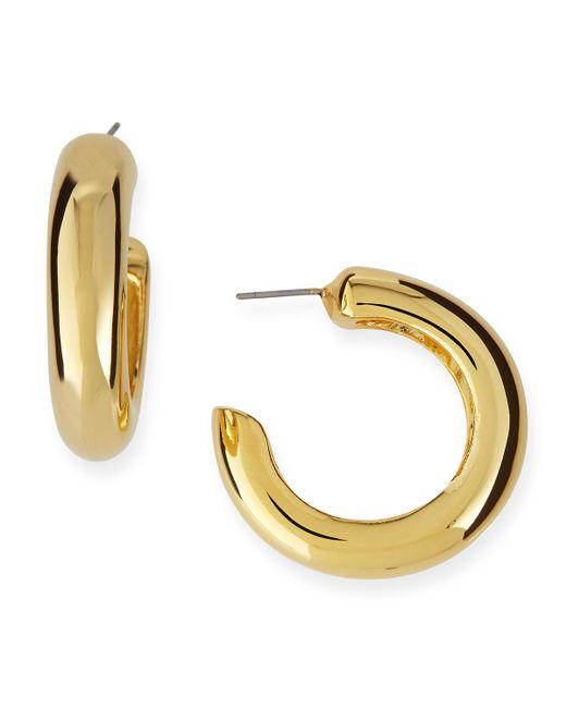 Kenneth Jay Lane - Metallic Polished Golden Hoop Pierced Earrings - Lyst