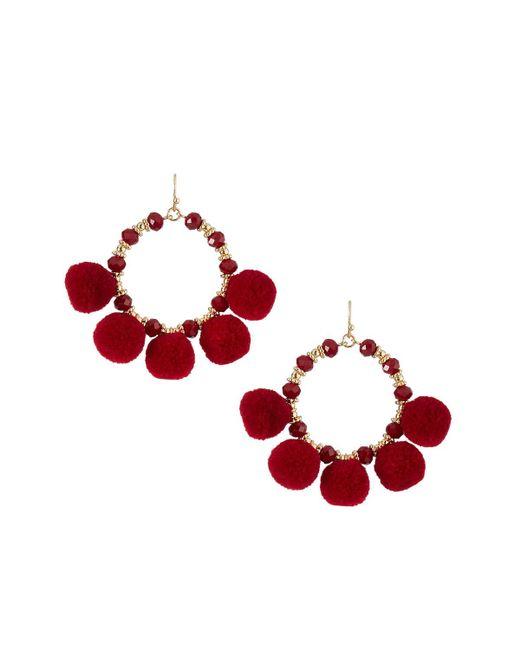 Fragments - Red Pompom Fringe Hoop Earrings - Lyst