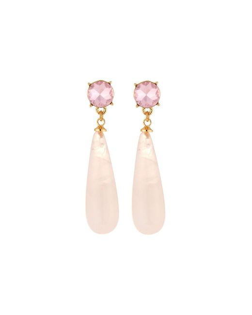 Fragments - Pink Crystal Drop Earrings - Lyst
