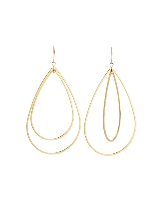Kenneth Jay Lane - Metallic Double Open Teardrop Fishhook Earrings - Lyst