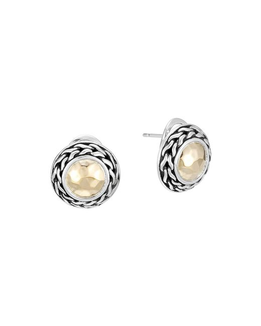 John Hardy - Metallic Palu 18k Gold & Sterling Silver Post Earrings - Lyst
