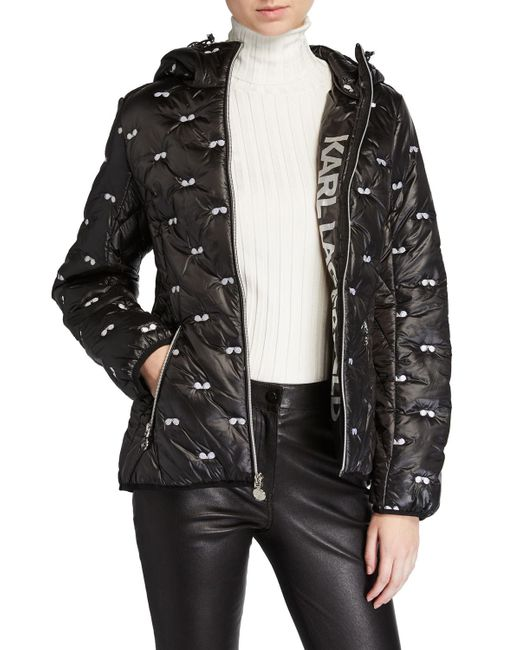 Karl Lagerfeld Black Sunglasses Embroidered Puffer Jacket