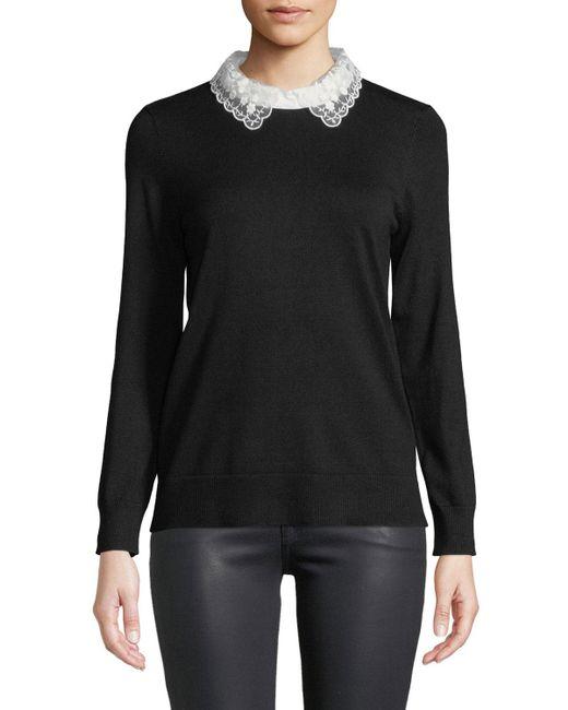 Neiman Marcus - Black Lace-collar Sweater - Lyst