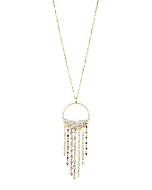 Panacea - Brown Circle Fringe Crystal Pendant Necklace - Lyst