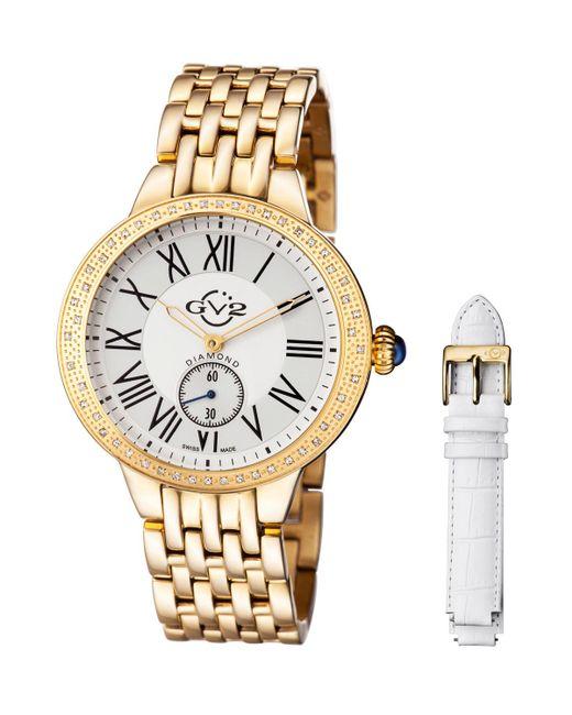 Gv2 - Metallic 40mm Astor Bracelet Watch W/ Diamond Bezel & Interchangeable Strap Golden - Lyst