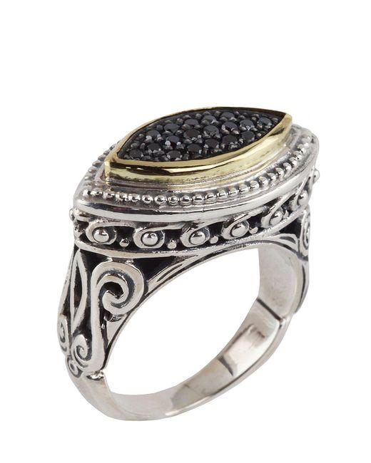 Konstantino   Metallic Asteri Horizontal Ring W/ Pave Black Diamond Marquise Center   Lyst