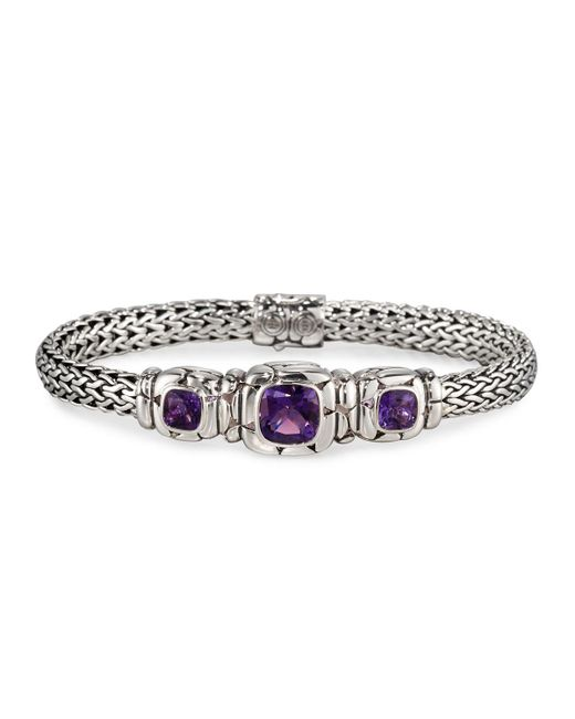 John Hardy - Purple Batu Kali Amethyst Station Bracelet - Lyst