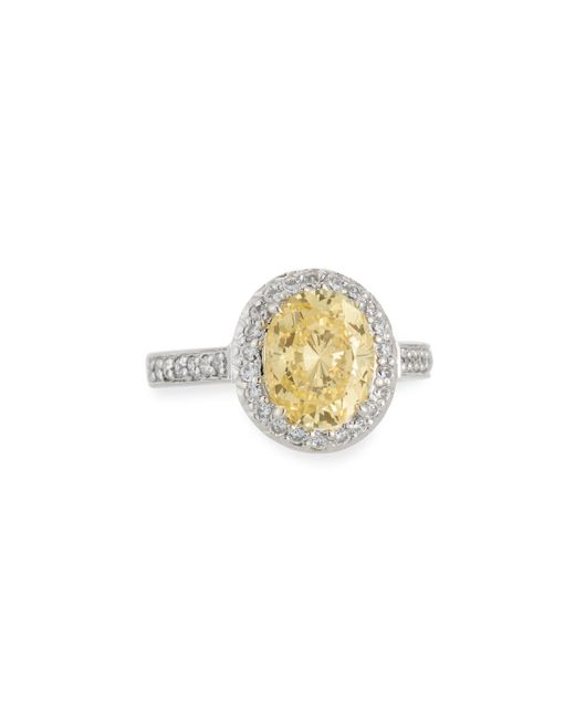 Fantasia by Deserio   Oval-cut Canary Yellow Cz Pave Ring   Lyst