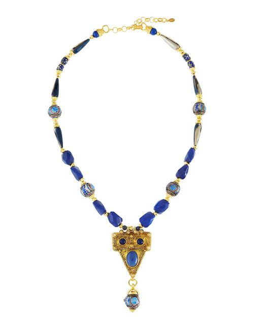 Jose & Maria Barrera | Blue Dyed Jade & Cloisonné Bead Pendant Necklace | Lyst