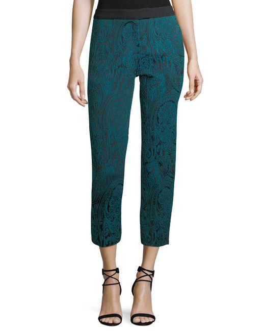 Trina Turk - Green Paisley Jacquard Slim Straight-leg Pants - Lyst