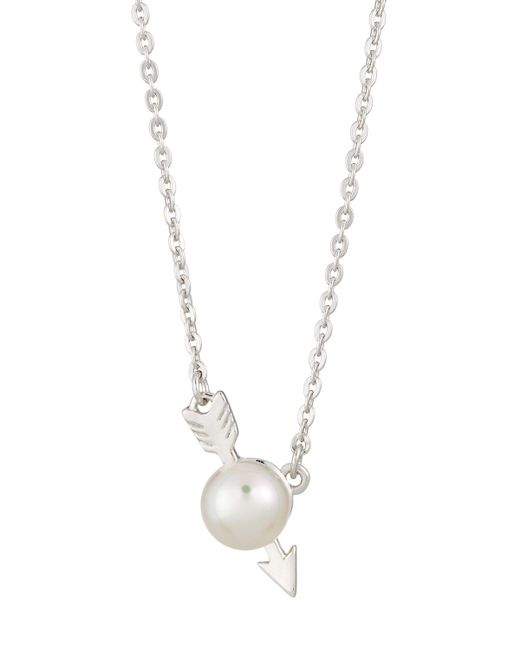 Majorica - White 6mm Simulated Pearl Arrow Pendant Necklace - Lyst