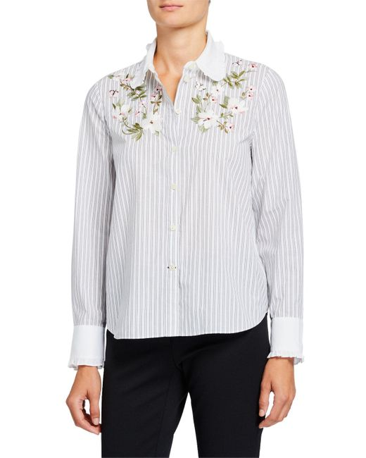 Kate Spade White Striped Floral Embroidered Button-down Shirt