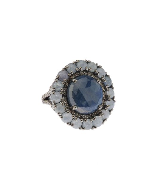 Bavna - Metallic Silver Ring With Blue Sapphire & Diamonds - Lyst