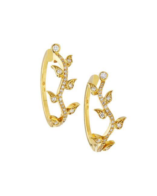 Penny Preville - Metallic 18k Gold Diamond Leaf Hoop Earrings - Lyst