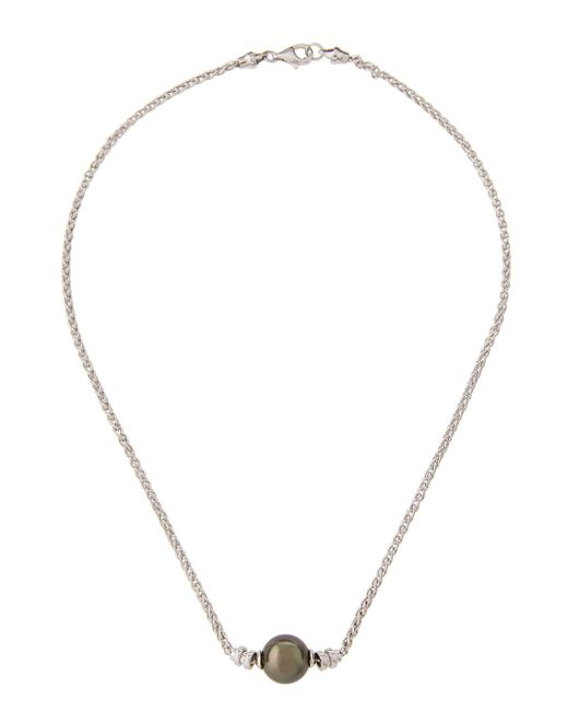 Belpearl - 14k White Gold Integrated Tahitian Pearl Necklace - Lyst