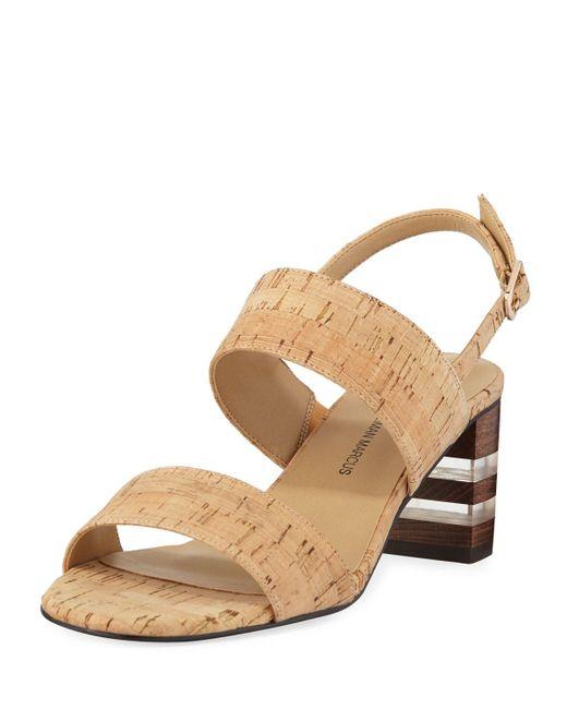 Neiman Marcus Natural Leyda Mid-heel Cork Sandals