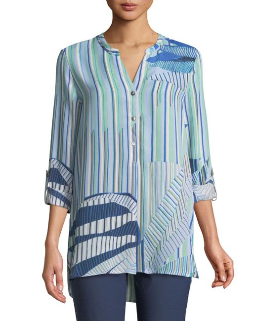 NIC+ZOE - Blue Palm Lines Long-sleeve Button-front Top - Lyst