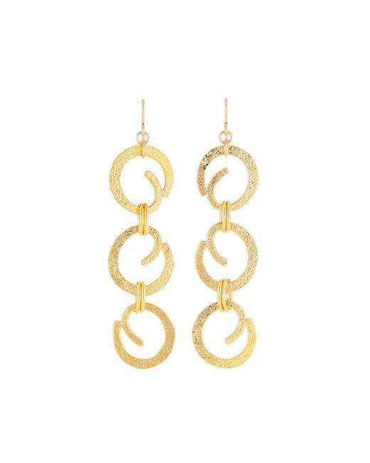 Devon Leigh - Metallic Textured Swirl Chain Drop Earrings - Lyst