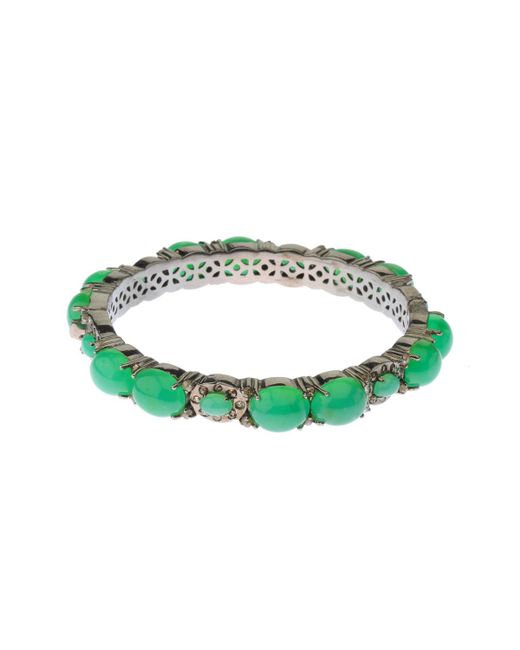 Bavna - Green Chrysoprase Cabochon & Champagne Diamond Bangle Bracelet - Lyst