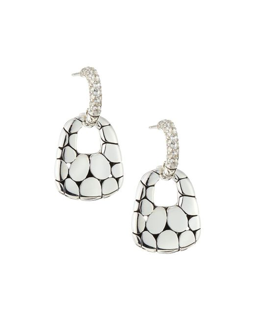 John Hardy - Metallic Kali Silver Lava Drop Earrings W/ White Topaz - Lyst