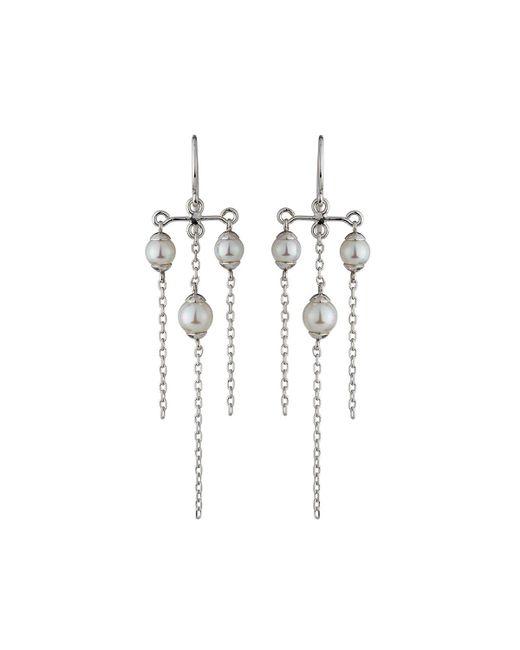 Majorica - White Tiered Triple-pearl Chandelier Earrings - Lyst