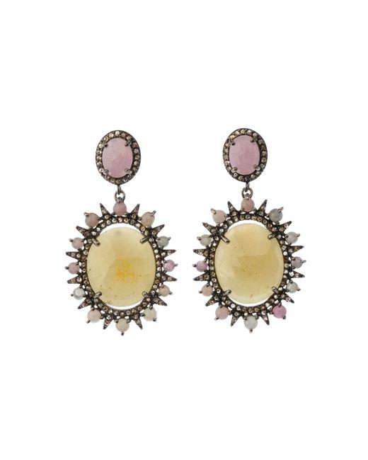 Bavna - Metallic Silver Oval Drop Earrings With Multicolor Sapphire & Diamonds - Lyst