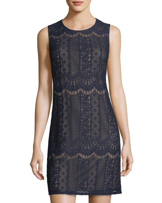 Adrianna Papell - Blue Sleeveless Lace Shift Dress - Lyst