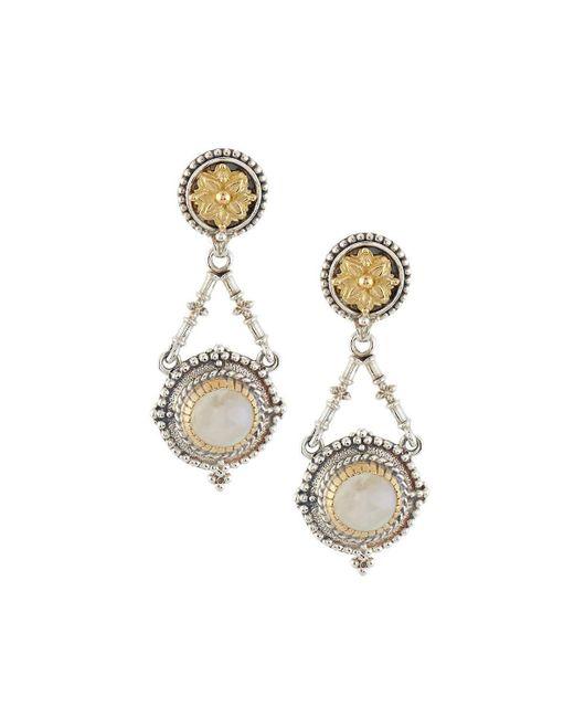 Konstantino   White Erato Floral Labradorite Doublet Drop Earrings   Lyst