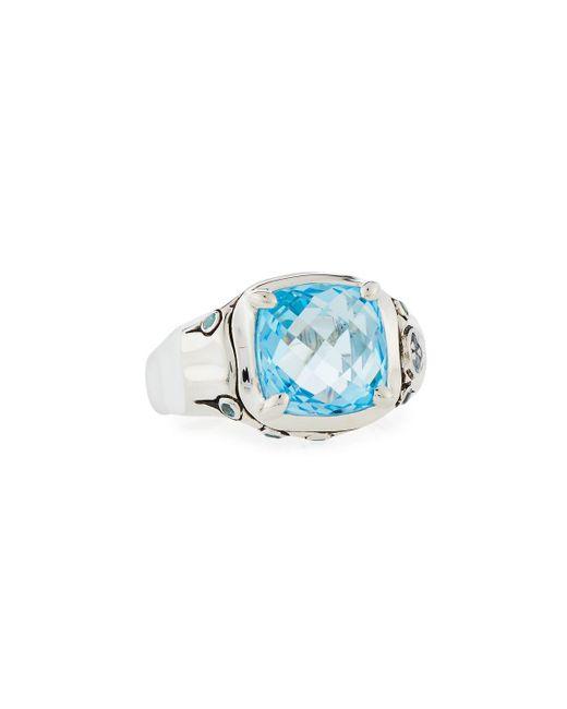 John Hardy - Batu Bamboo Sky Blue & Swiss Blue Topaz Cushion Ring Size 7 - Lyst