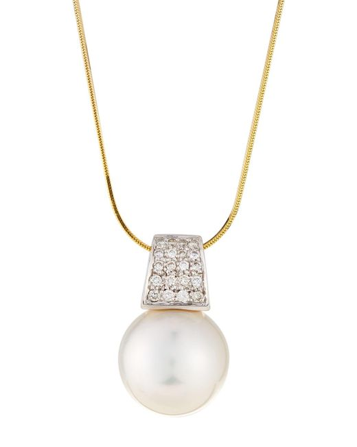 Belpearl - 14k Yellow Gold South Sea Pearl & Diamond Pendant Necklace - Lyst