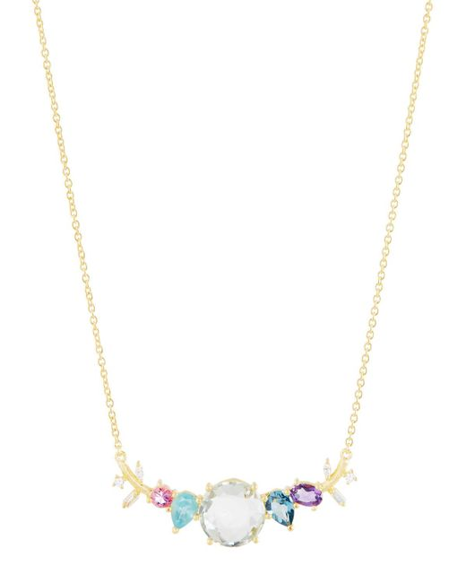 Indulgems | Metallic Mixed-stone Curved Bar Pendant Necklace W/ Green Amethyst | Lyst