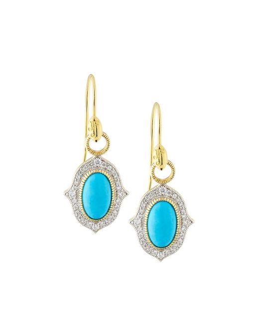 Jude Frances - Blue 18k Moroccan Pave Oval Drop Earrings - Lyst