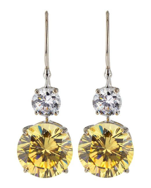 Fantasia by Deserio - Multicolor Double Round-drop Cz Earrings - Lyst