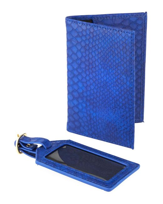 Neiman Marcus - Blue Exotic Passport And Luggage Tag Set - Lyst