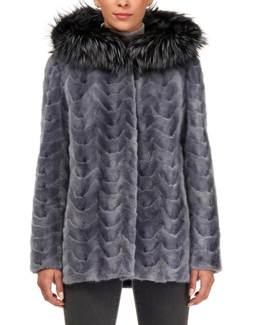 Gorski - Blue Sectioned Mink Jacket With Fox Trim Hood - Lyst