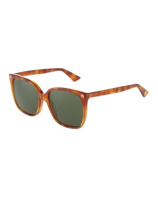 af233f5727a Lyst - Gucci Round Havana Acetate Sunglasses in Brown