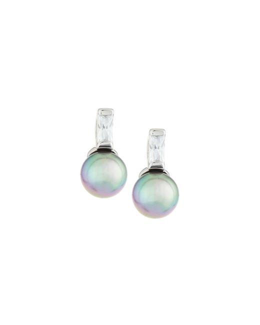 Majorica - Gray Pearl & Crystal Drop Earrings - Lyst