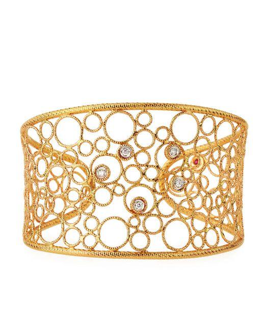 Roberto Coin | Metallic Bollicine 18k Rose & White Gold Cuff W/ Diamonds | Lyst