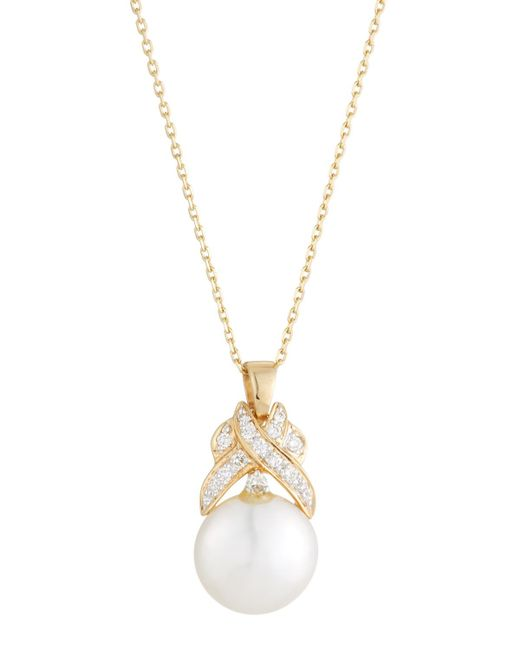 Belpearl | Metallic 14k Freshwater Pearl & Diamond Crossover Necklace | Lyst