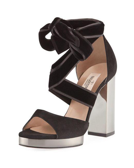 9657684f6e5c Valentino - Black Velvet Ankle-wrap Sandals - Lyst ...