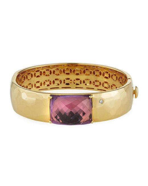 Roberto Coin Purple Martellato 18k Amethyst Bangle W/ Diamond