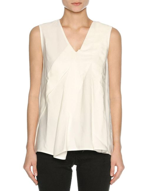 Marni - White V-neck Sleeveless Poplin Top - Lyst
